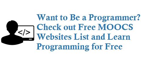 Free Moocs Websites List Free Programming Websites List