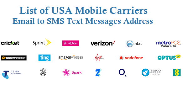 USA Mobile Carriers Email to SMS Text Messages Address