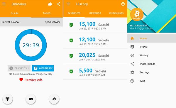 get free satoshi with bitmaker app
