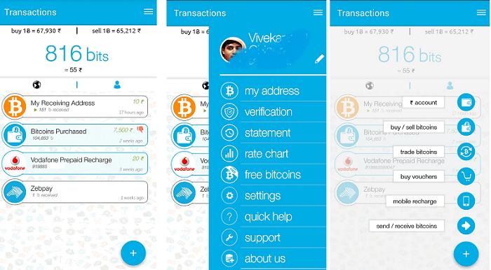 send or receive bitcoin on zebpay