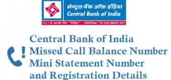 Central Bank of India Missed Call Balance Number and Registration Details
