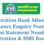 Corporation Bank Missed Call Balance Enquiry and Registration Details