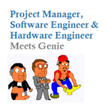 Three men: A Project Manager, a Software Engineer, and a Hardware Engineer