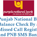 Punjab National Bank Balance Check By Missed Call and Registration