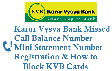 kvb balance check number by Missed Call mini statement
