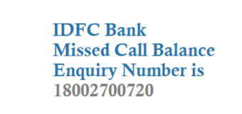 IDFC Bank Missed call Balance Enquiry Number and SMS banking