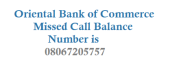 Oriental Bank of Commerce Missed Call Balance Number Mini Statement Number and Other Details