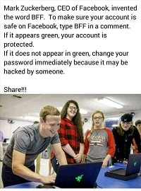BFF Facebook Typing BFF Comment on Facebook is Fake