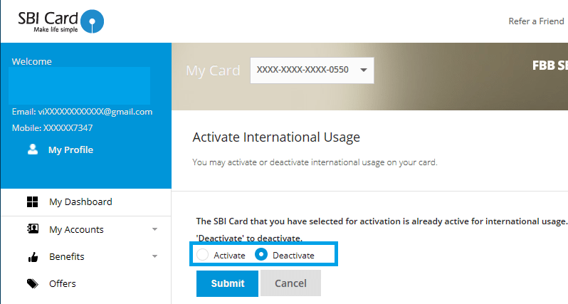 Disable or Enable International Usage on SBI Credit Card