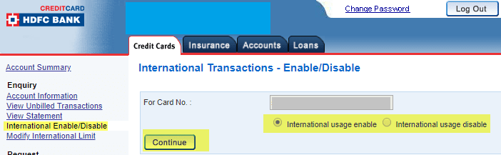 How to enable or disable international transaction on HDFC Credit Card