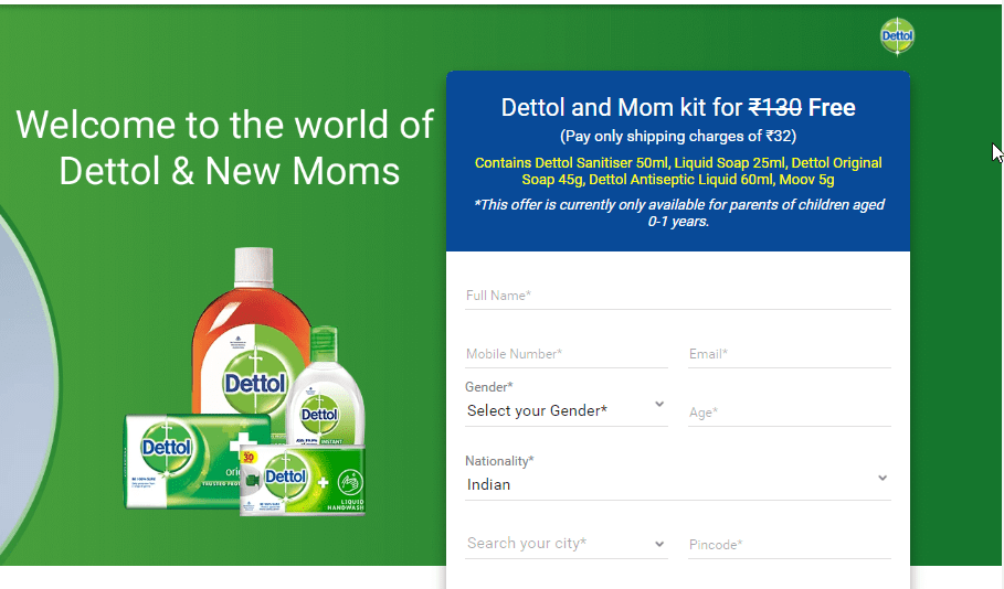 Get Free Dettol and Mom kit