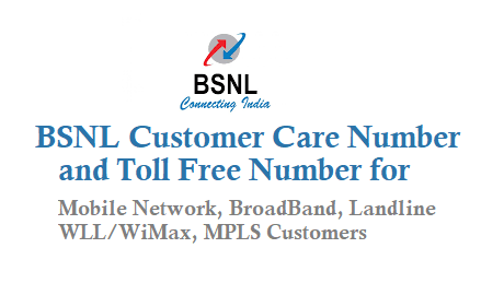 BSNL Customer Care Number Toll Free Number For BSNL Mobile Network