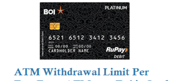 Bank of India ATM Withdrawal Limit Per Day From ATM cum Debit Card