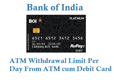 Bank of India Daily Withdrawal Limit from ATM
