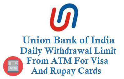 union bank of india daily withdrawal limit from atm for rupay and visa card
