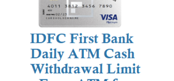 IDFC Bank Daily Withdrawal Limit from ATM