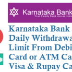 Karnataka Bank Daily Withdrawal Limit from Debit Card or ATM Card