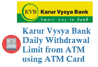 kvb daily withdrawal limit from atm for rupay visa master cards