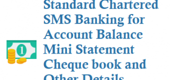 Standard Chartered SMS Banking for Balance Mini Statement Cheque book and Other Details