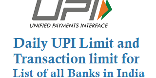 Daily UPI Limit and UPI Transaction Limit for List of all Banks in India