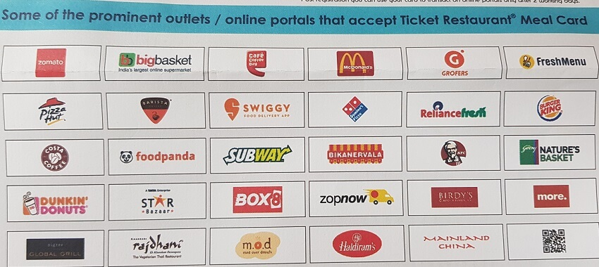 Online Sites which accepts Ticket Restaurant Meal Card