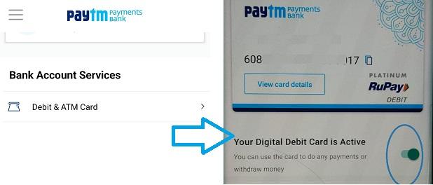 block unblock paytm atm card in paytm app