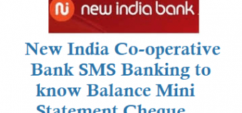 New India Co-operative Bank SMS Banking to know Balance Mini Statement Cheque