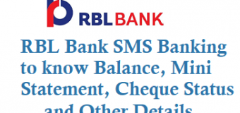 RBL Bank SMS Banking to know Balance Mini Statement Cheque Status and Other Details