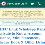 HDFC Bank Whatsapp Banking to Account Balance Mini Statement Cheque Book and Other Details
