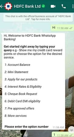 HDFC Bank Whatsapp Banking