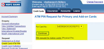 How to Reset HDFC Bank Credit Card PIN