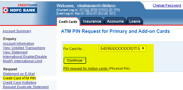 Change Reset HDFC Bank Credit Card PIN