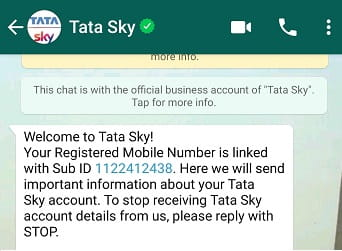 Tata sky whatsapp chat