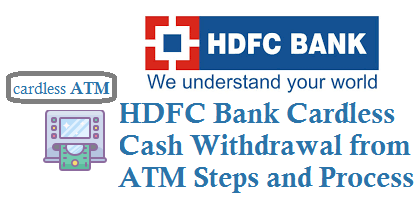 HDFC Bank Cardless Cash Withdrawal from ATM and Charges