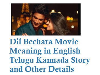 Dil Bechara Meaning in English Telugu Kannada Story Release Date