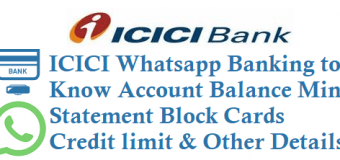ICICI Whatsapp Banking to know Account Balance Mini Statement Block Cards and Other Details