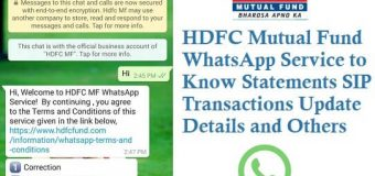HDFC Mutual Fund WhatsApp Service to Know Statements SIP Transactions Update Details and Others