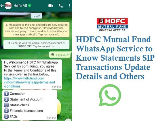 HDFC Mutual Fund WhatsApp Service 8270682706 to Know Statements SIP Transactions