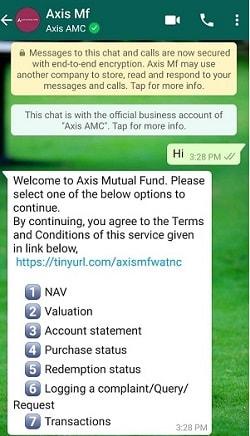 axis mf whatsapp options