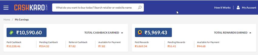 cashkaro saved amount