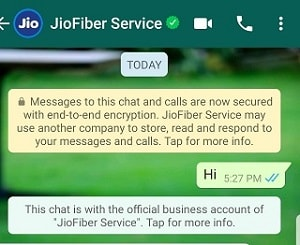 JioFiber Whatsapp Chat Service Activation