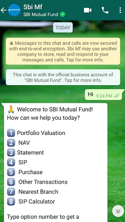 sbi mf whatsapp service activation or registration