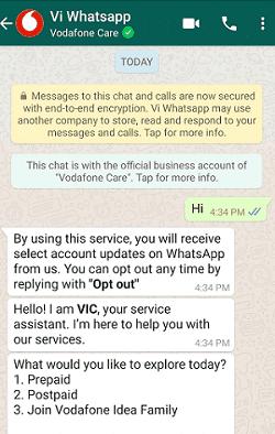 vodafone idea vi whatsapp customer care service details