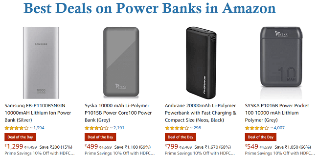 Best Deals on Power Banks in Amazon