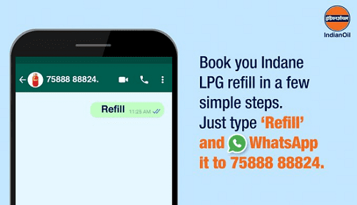 Now Book or Refill Your Indane Gas by WhatsApp number 7588888824