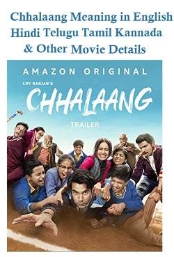 Chhalaang Meaning in English Hindi Telugu Tamil Kannada and Other Movie Details
