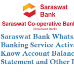 Saraswat Bank WhatsApp Banking Service Activation to Know Account Balance Mini Statement