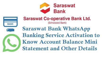 Saraswat Bank WhatsApp Banking Service Activation 9029059271 8291409100